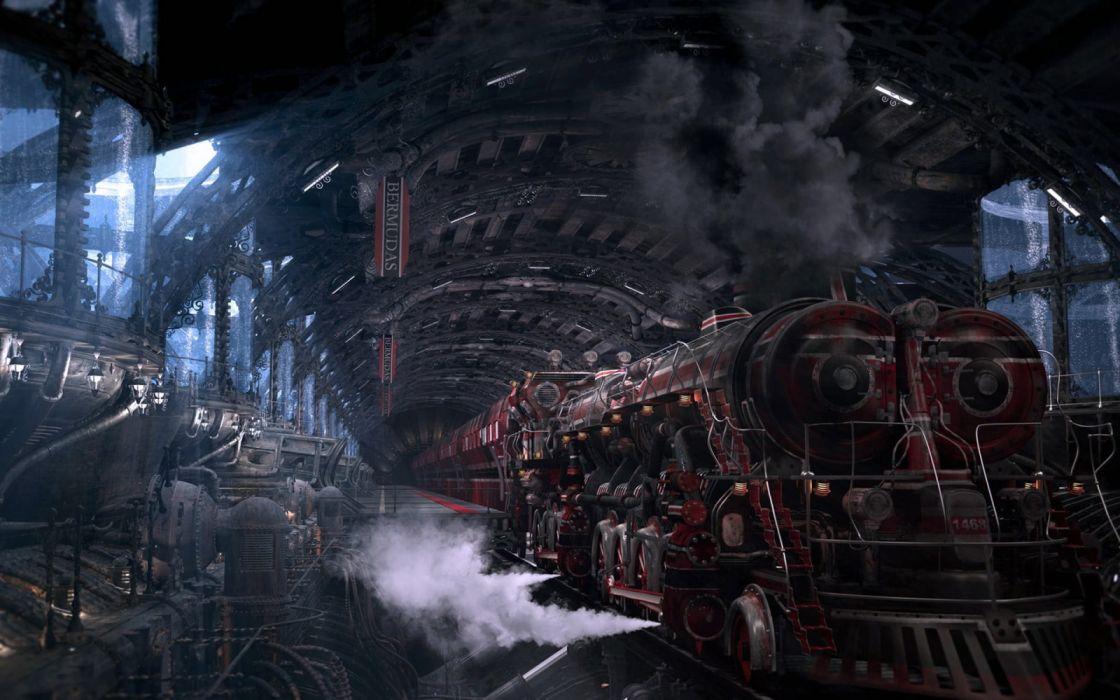 red train illustration fantasy art digital art train station wallpaper
