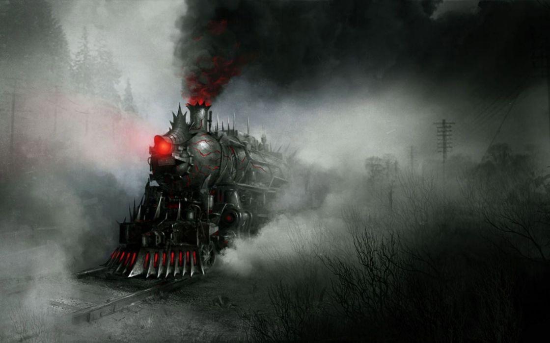 black and red train illustration artwork fantasy art concept art wallpaper
