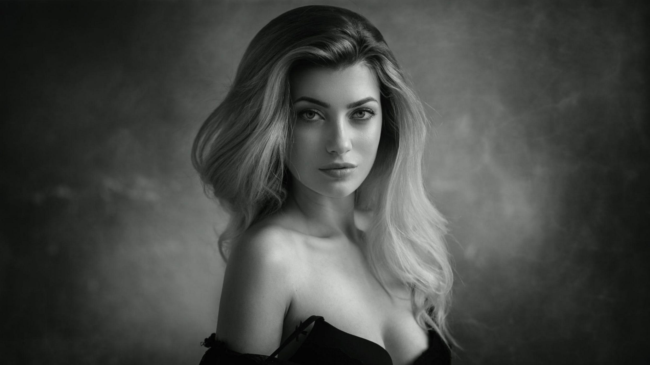 Фото красивых блондинок черно белое