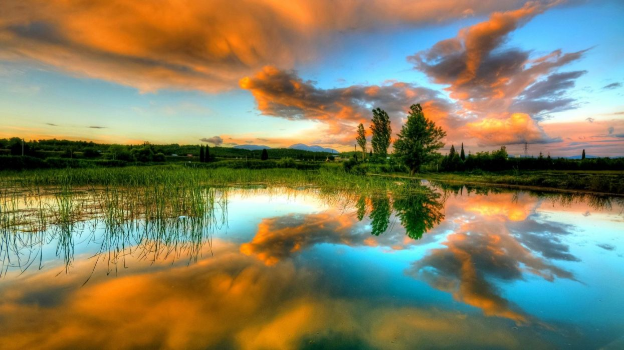lake reflection clouds sky spring water trees wallpaper
