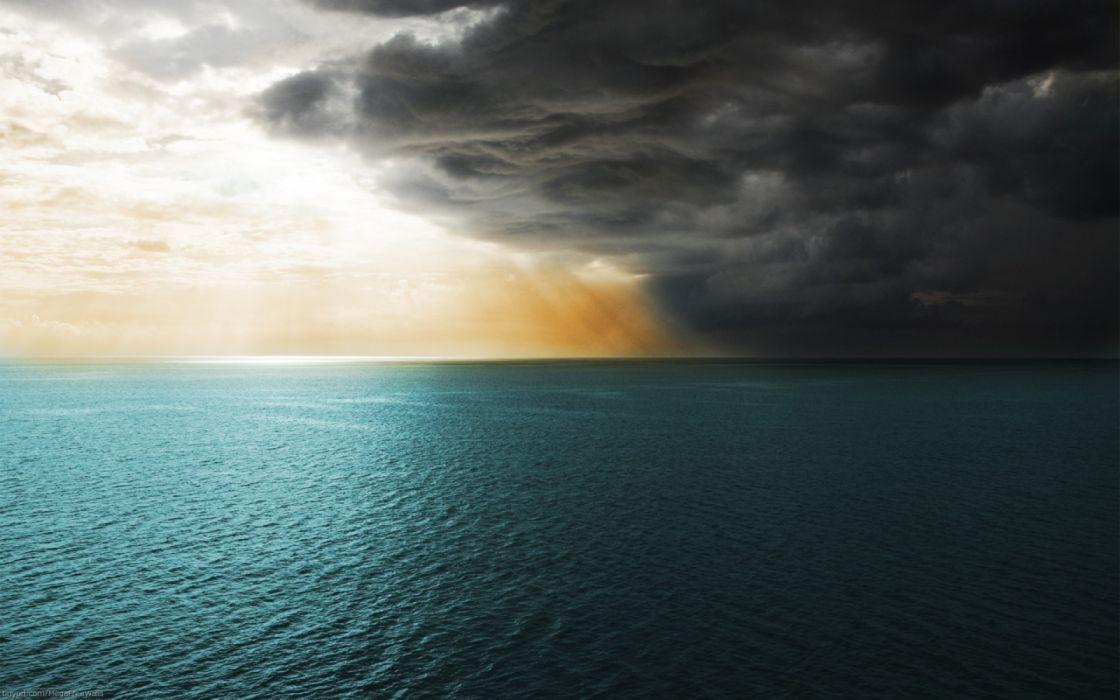 oceano nubes tormenta naturaleza wallpaper