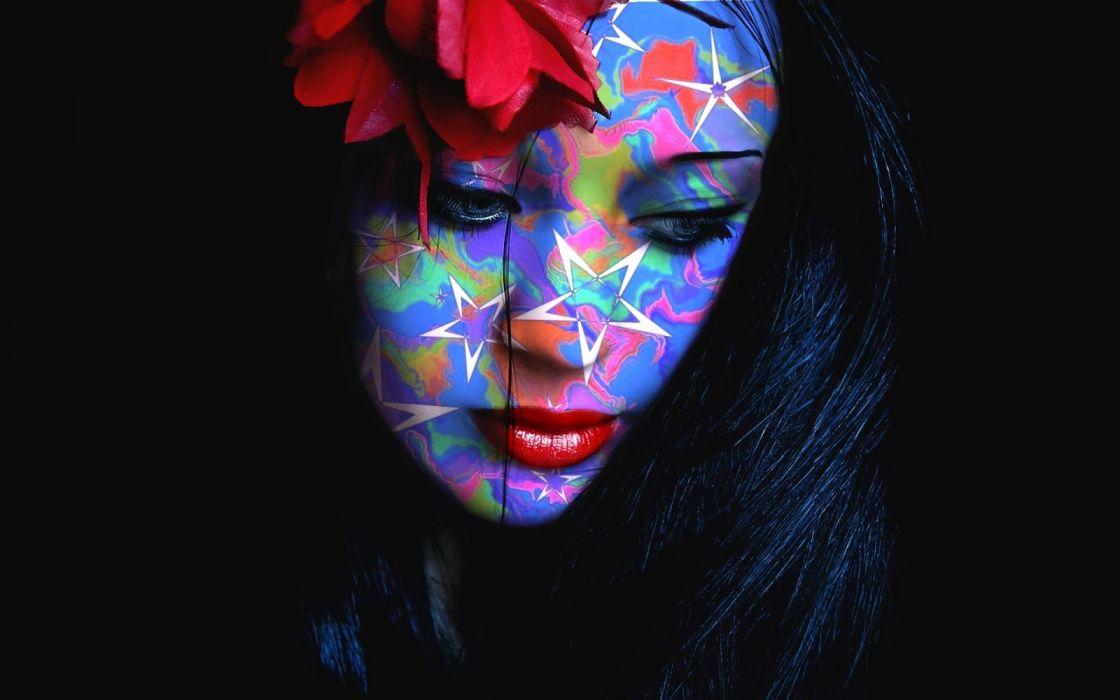 rostro mujer morena abstracto colores wallpaper