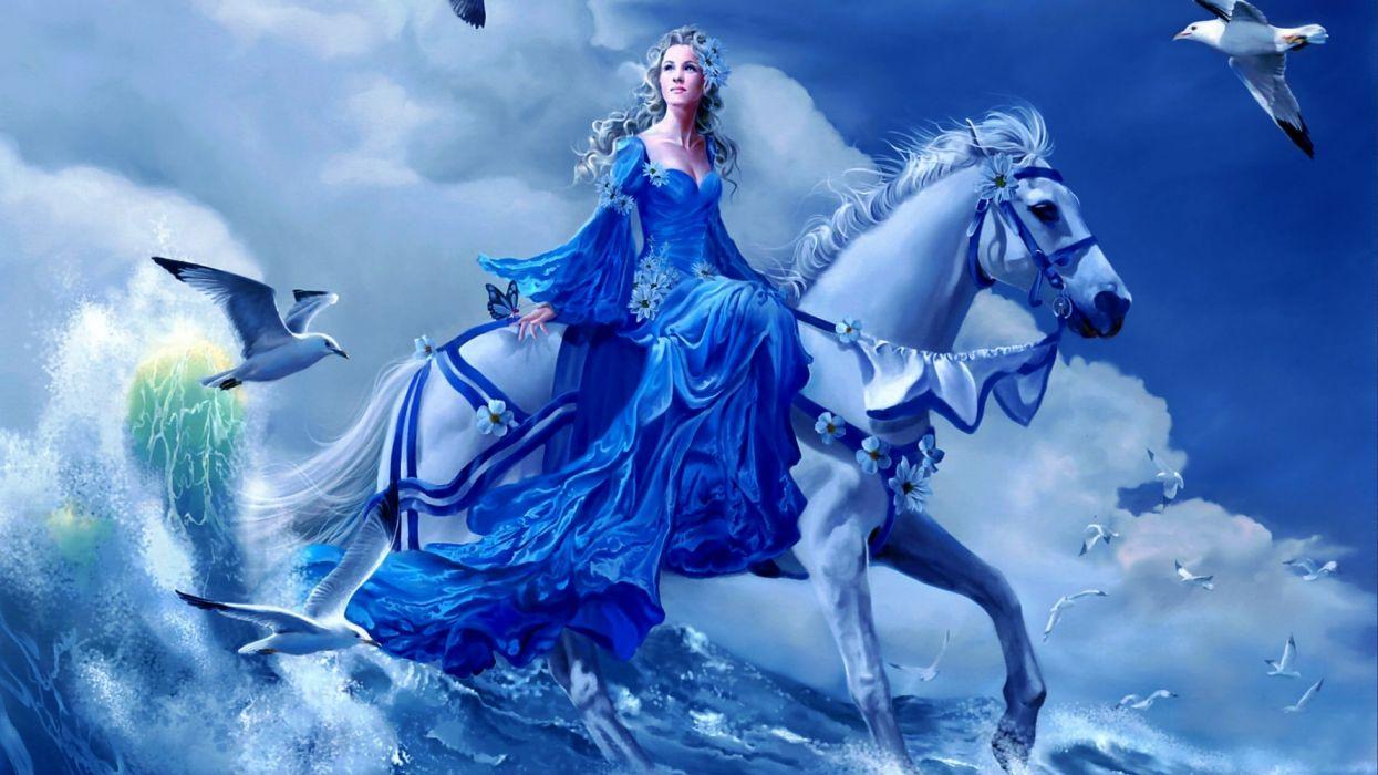 abstracto 3d mujer caballo mar gaviotas wallpaper