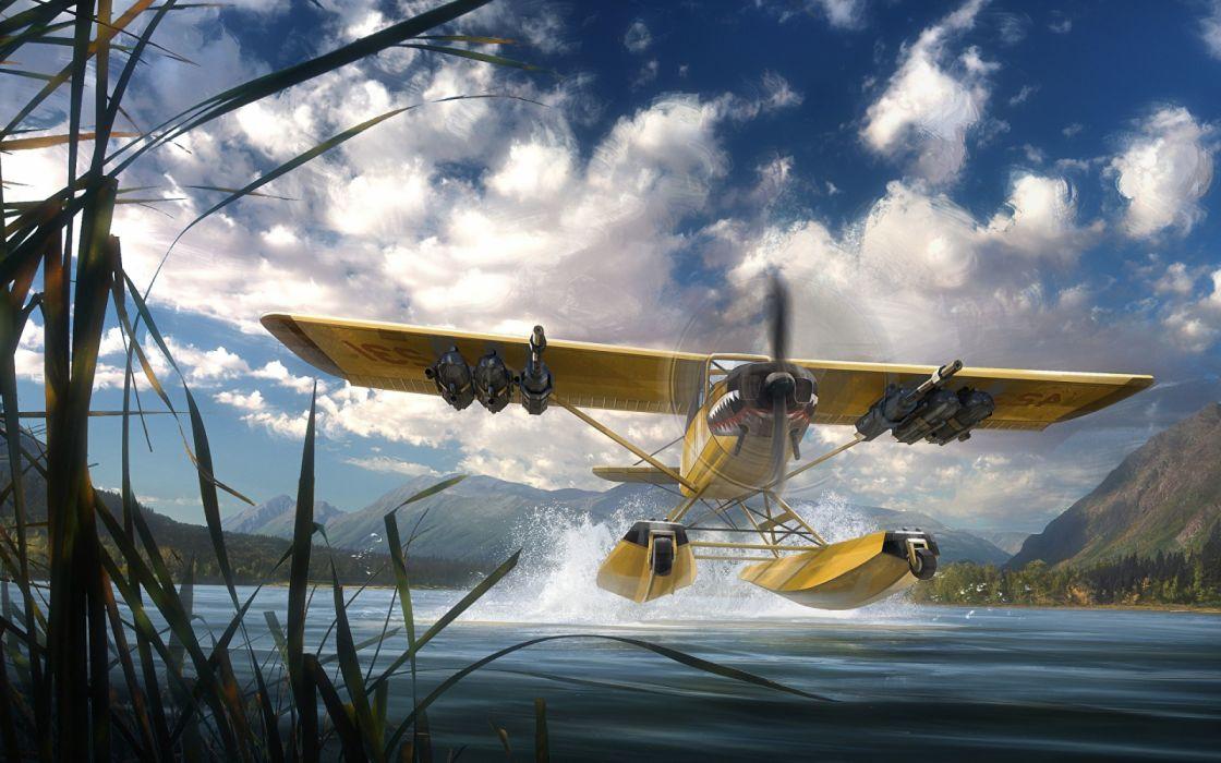 hidroavion despegue agua vehiculo wallpaper