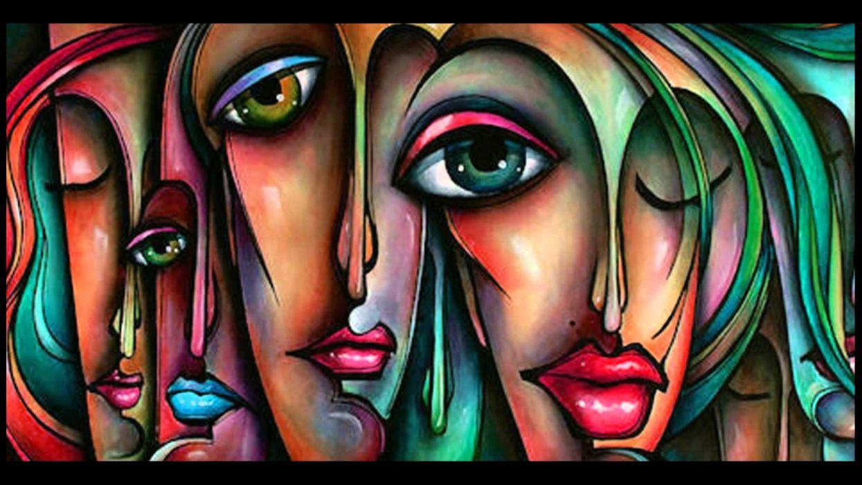 arte abstracto rostro mujer pinturas wallpaper