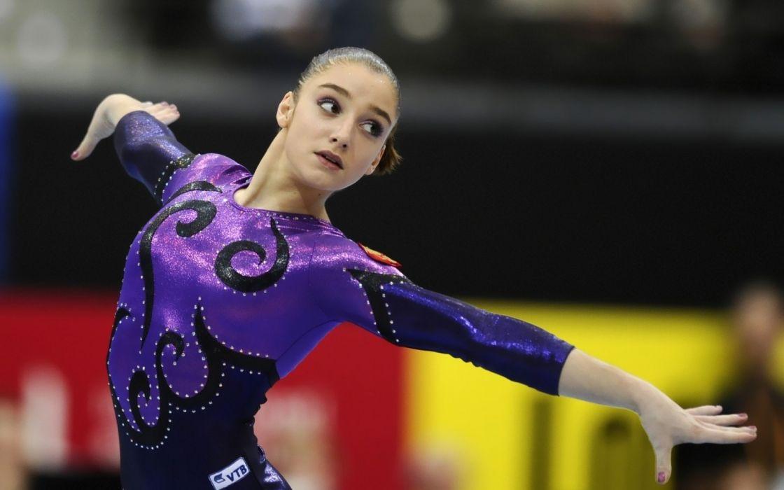 women gymnastics Aliya Mustafina sport wallpaper