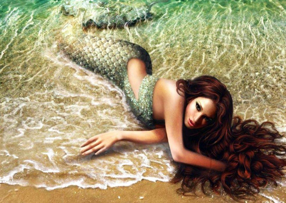 sirena playa mar fantasia wallpaper