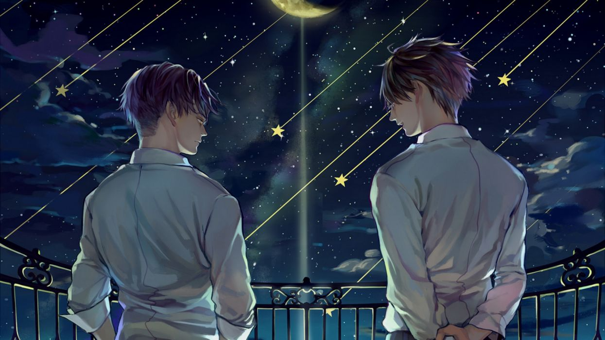 Levi Eren Yeager Night Sky With Shooting Stars From Anime