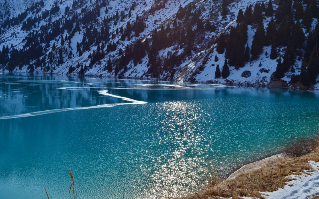 Big Almaty Lake Kazakhstan Water Mountains Trees Nature Snow