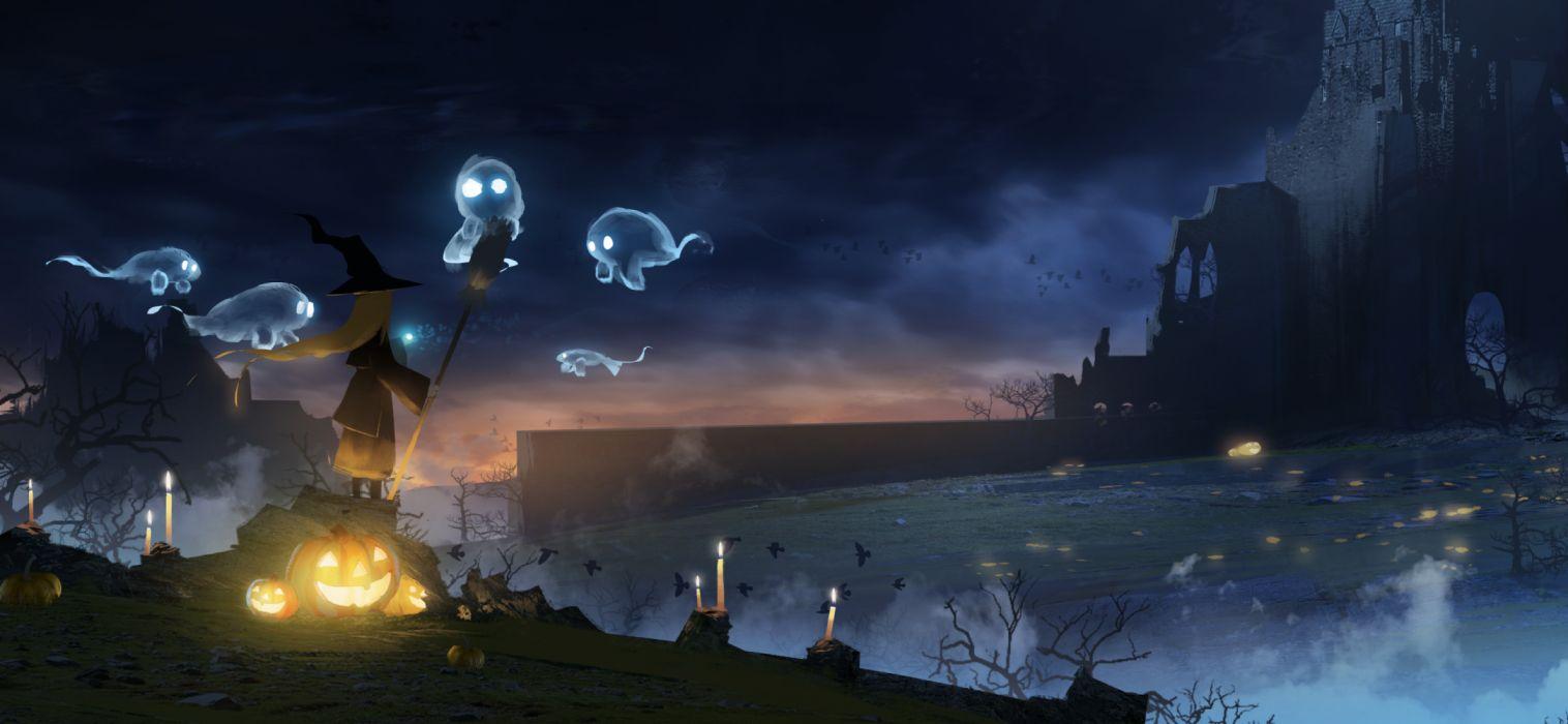 noche halloween brujas fantasmas calabazas wallpaper