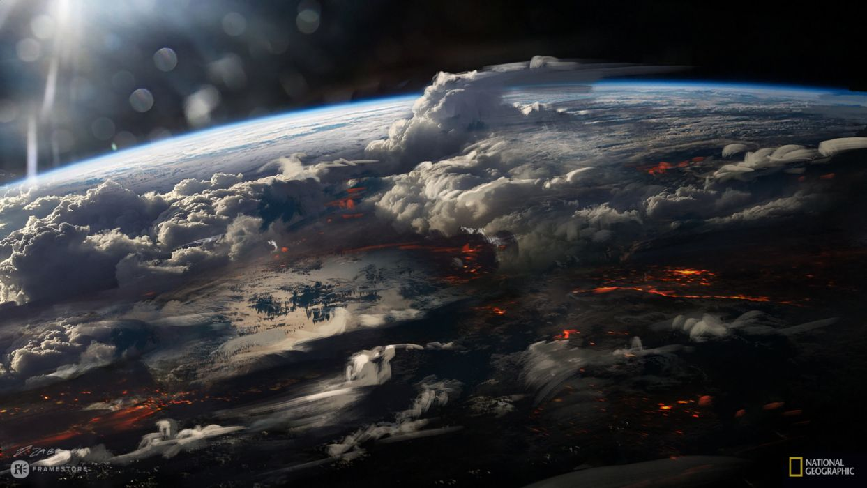 planeta fuego volcanes espacio naturaleza wallpaper