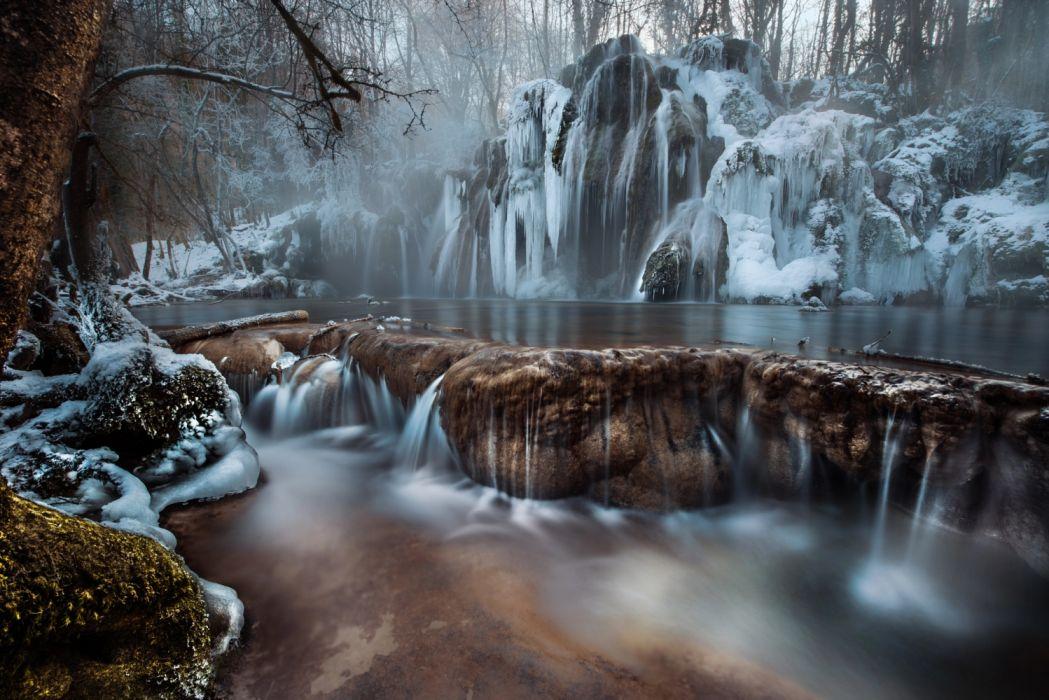 hielo cataratas naturaleza rio wallpaper