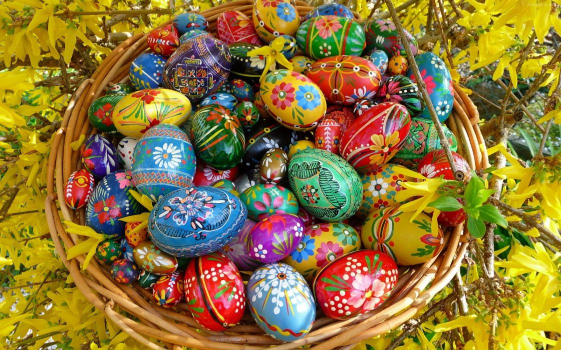 cesta huevos pintados pascua holiday wallpaper