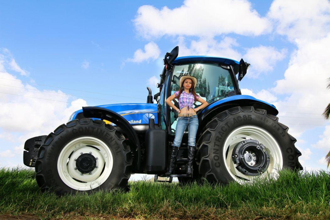 tractor azul new  holland mujer sombrero wallpaper