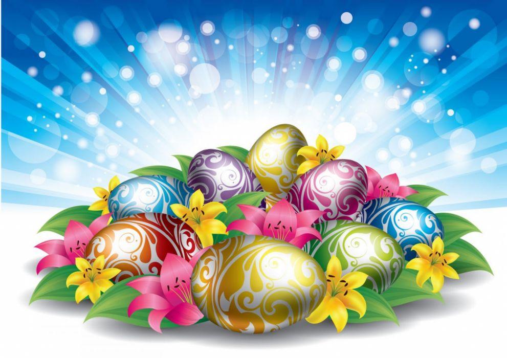 huevos pascua colores flores wallpaper