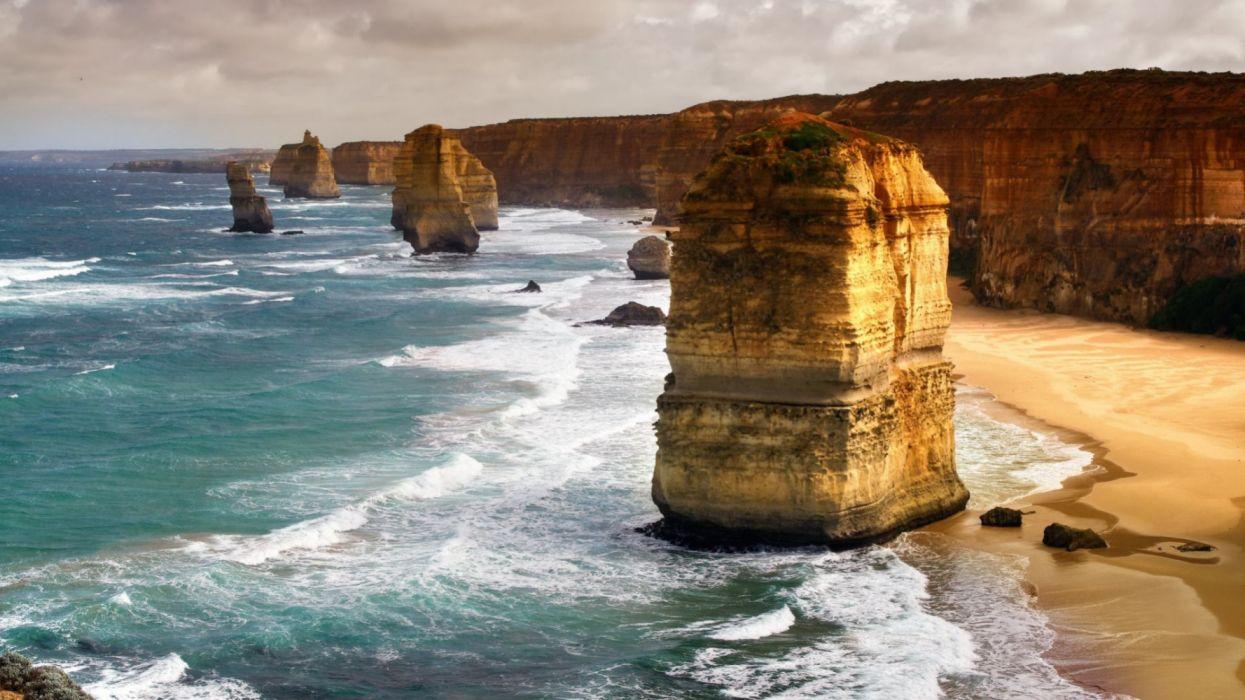 playa rocas mar naturaleza paisaje wallpaper