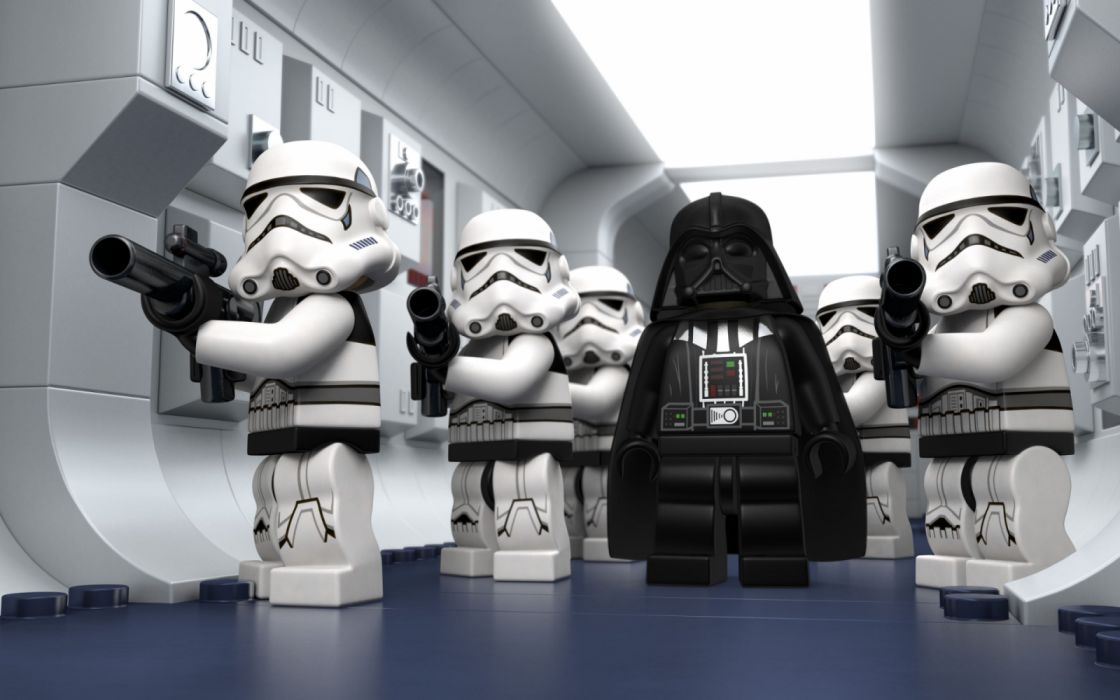 Darth Vader and Stormtroopers Lego mini figures wallpaper