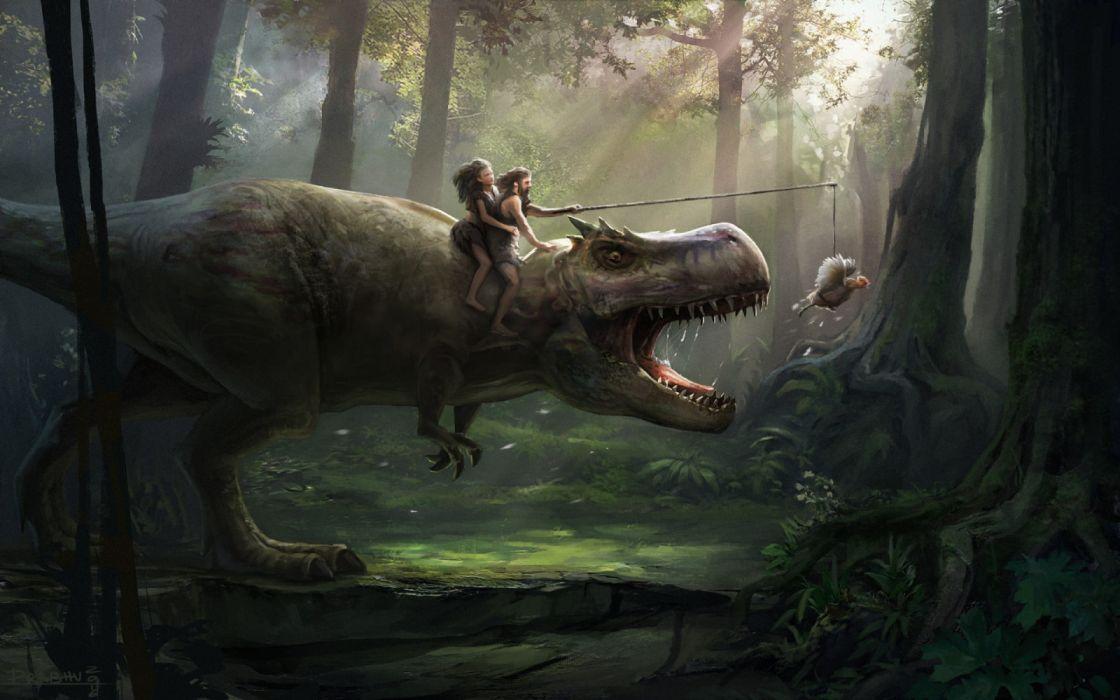 person riding dinosaur on T-Rex wallpaper
