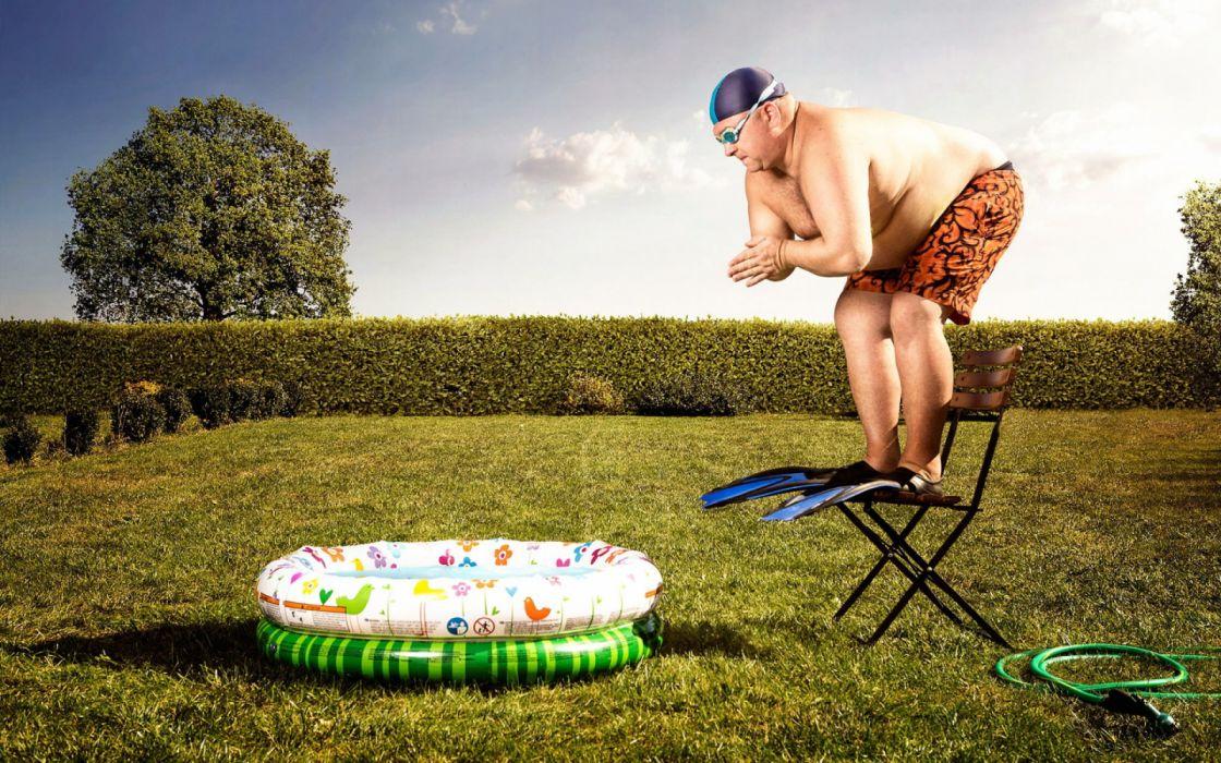 Funny man jumping in pool wallpaper