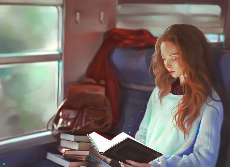 girls trains objects drawings widescreen fantasy wallpaper