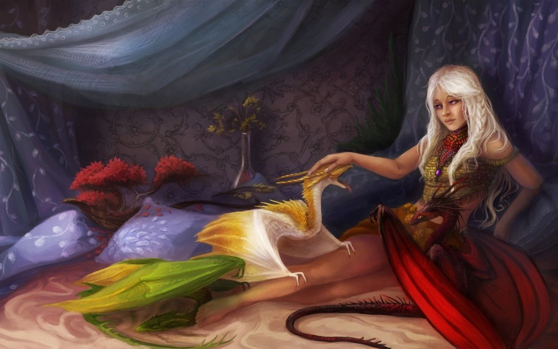 3d graphics girls dragons interior objects fantasy flowers widescreen wallpaper