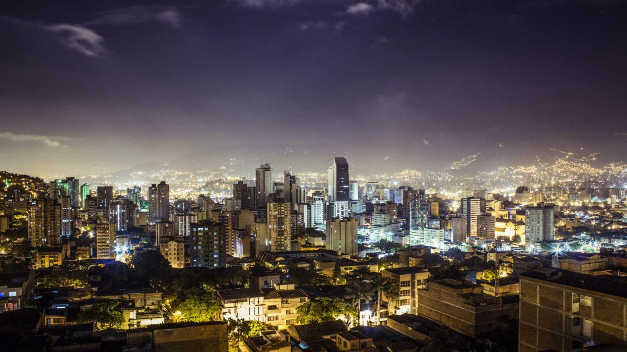 Medellin Republic of Colombia city night buildings lights wallpaper