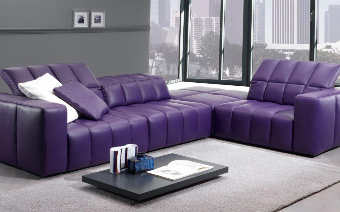 Living room purple sofa interior wallpaper