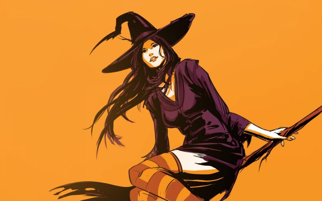bruja escoba sombrero halloween holiday wallpaper