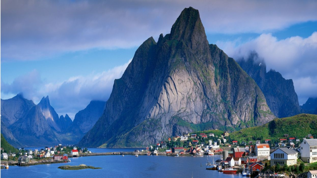 water mountains trees houses ships sky nature widescreen wallpaper