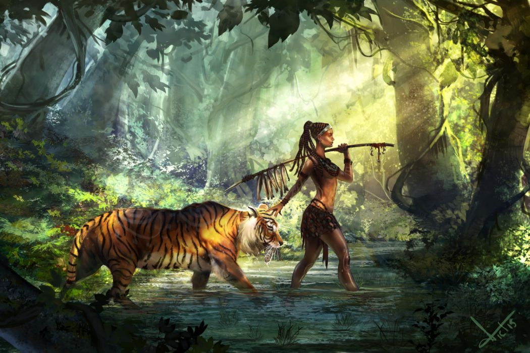 water girls animals objects nature drawings fish tigers widescreen wallpaper