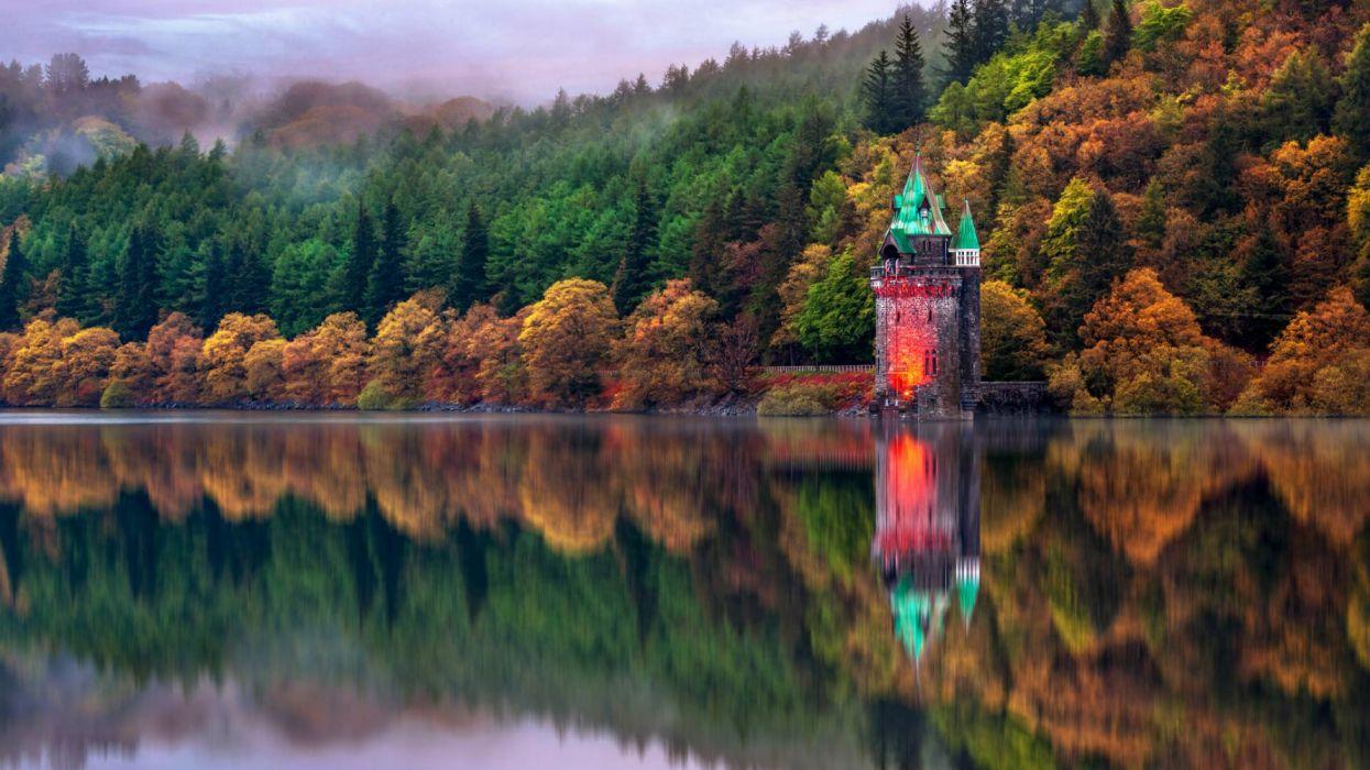 water houses forest autumn nature fog widescreen wallpaper