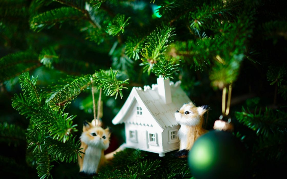 trees houses toys foxes new year holidays objects balls widescreen wallpaper
