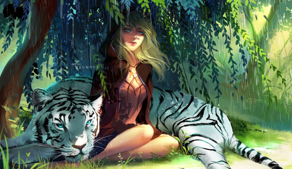trees animals summer nature drawings tigers widescreen wallpaper