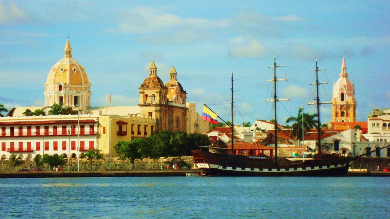 ciudad cartagena indias colombia barco wallpaper