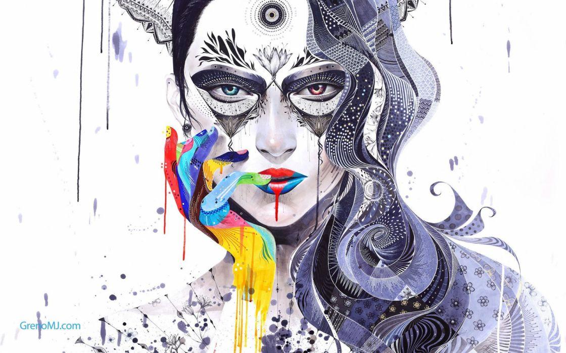 arte pintura abstracto rostro mujer wallpaper