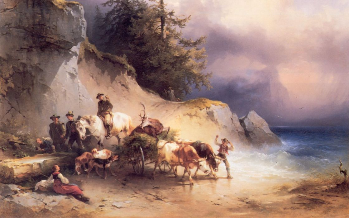 arte pintura caza ciervo bueyes carro wallpaper