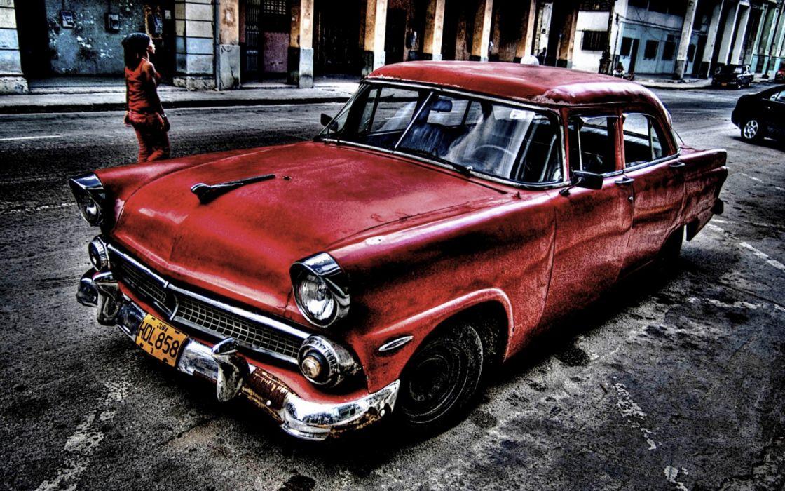clasico coche rojo americano wallpaper