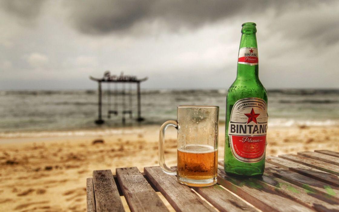 Summer drinks beer bottle cup beach wallpaper