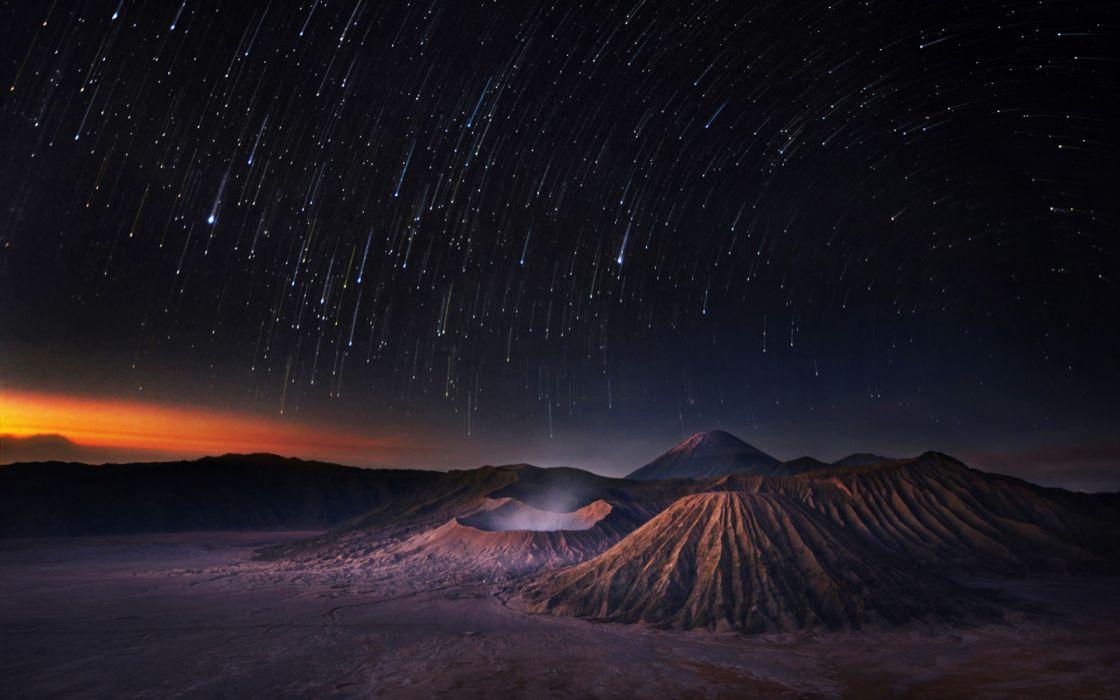 lluvia estrellas volcan naturaleza wallpaper