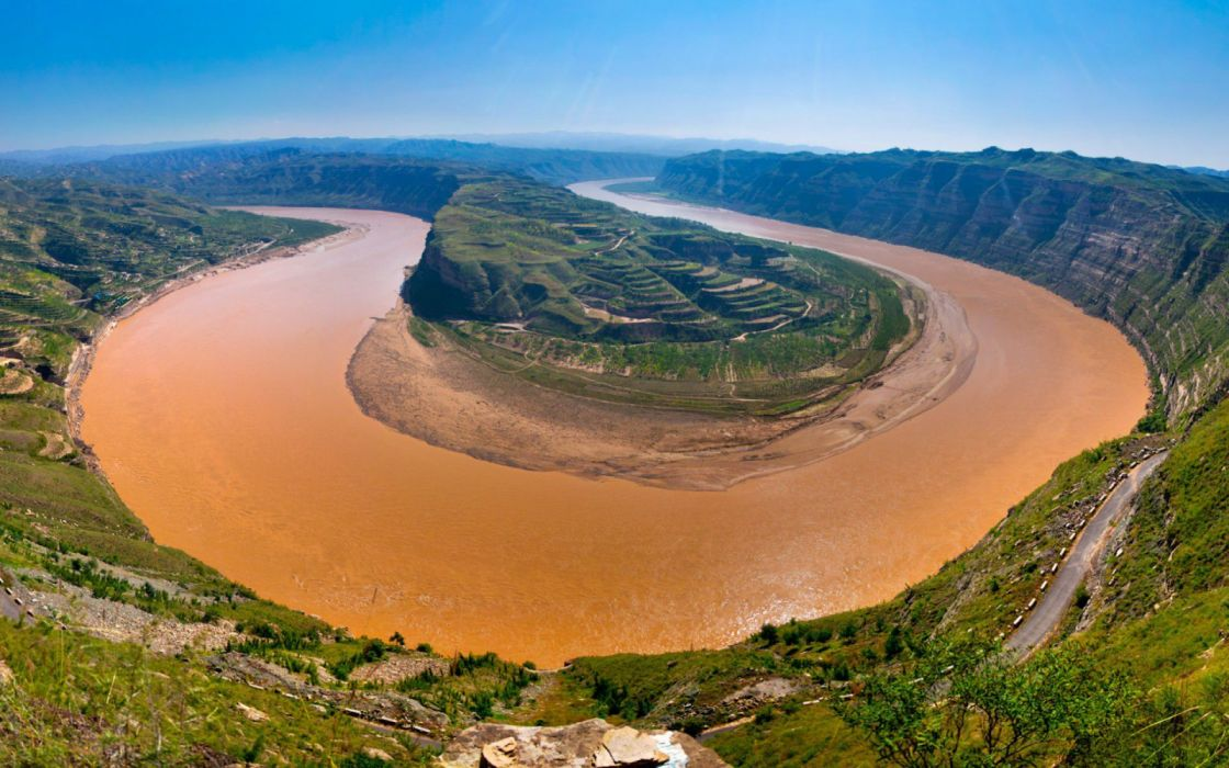 Yellow River flows through nine nature wallpaper