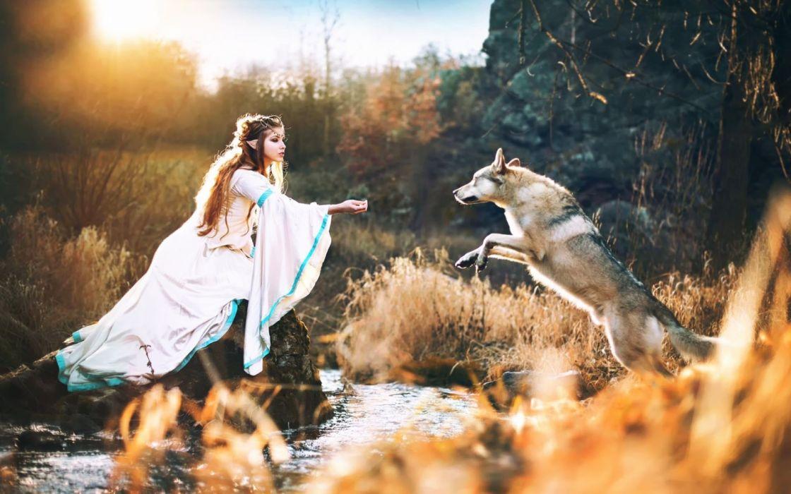 fantasia elfo mujer lobo wallpaper