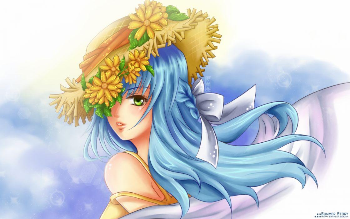 girl blue hair hat anime wallpaper