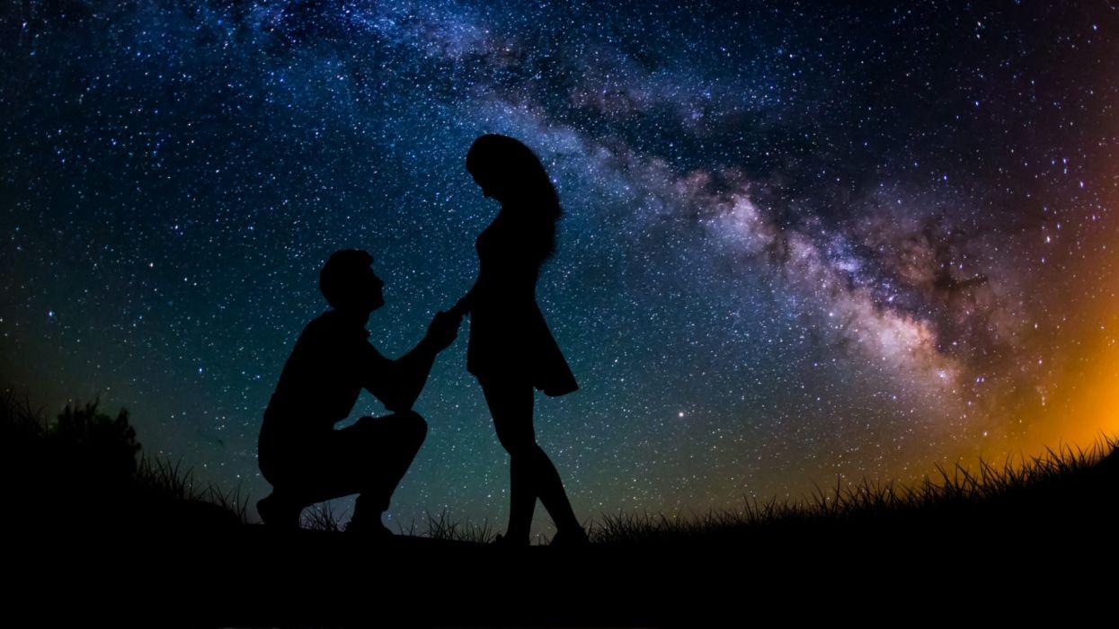 love proposal stars sky night wallpaper