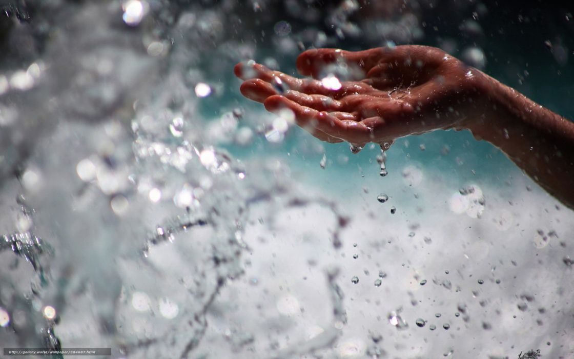 gotas agua mano wallpaper