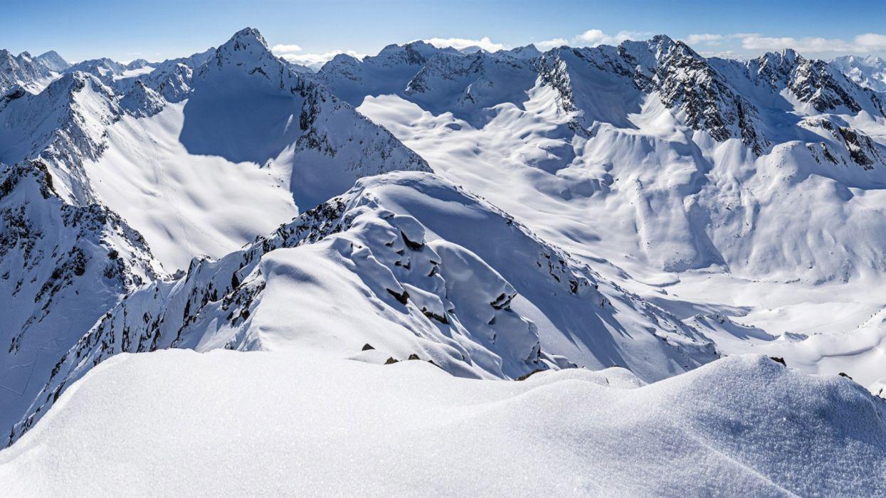 Zischgeles Stubai Alps Tyrol Austria thick- now mountains winter wallpaper