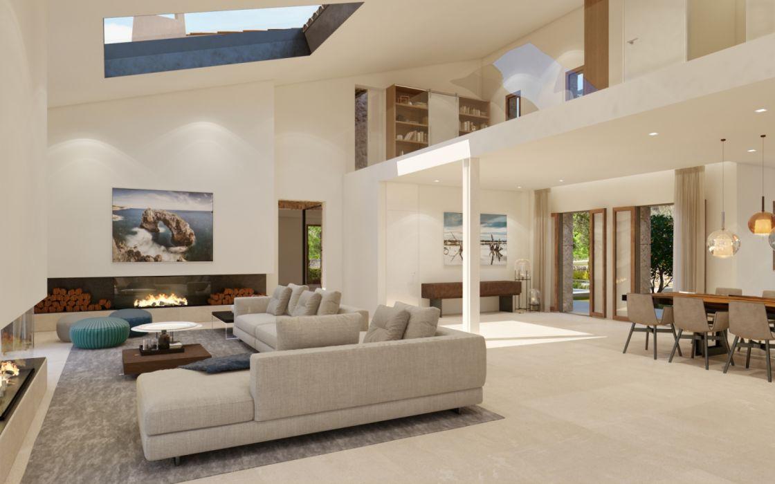 interior salon moderno estilo muebles wallpaper