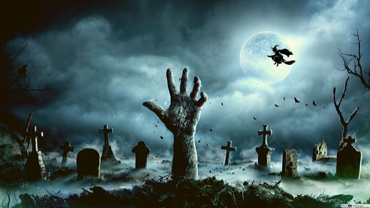 halloween tumba cementerio bruja noche holiday mano wallpaper