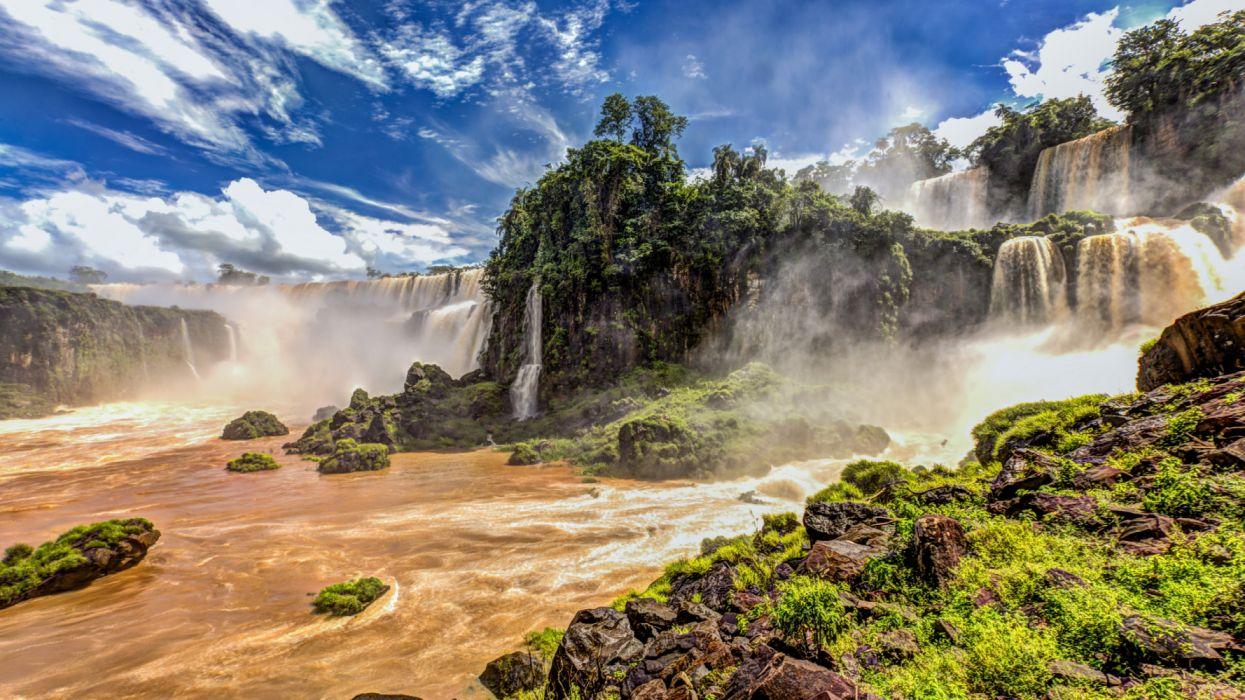 iguazu waterfalls south western border brazil wallpaper