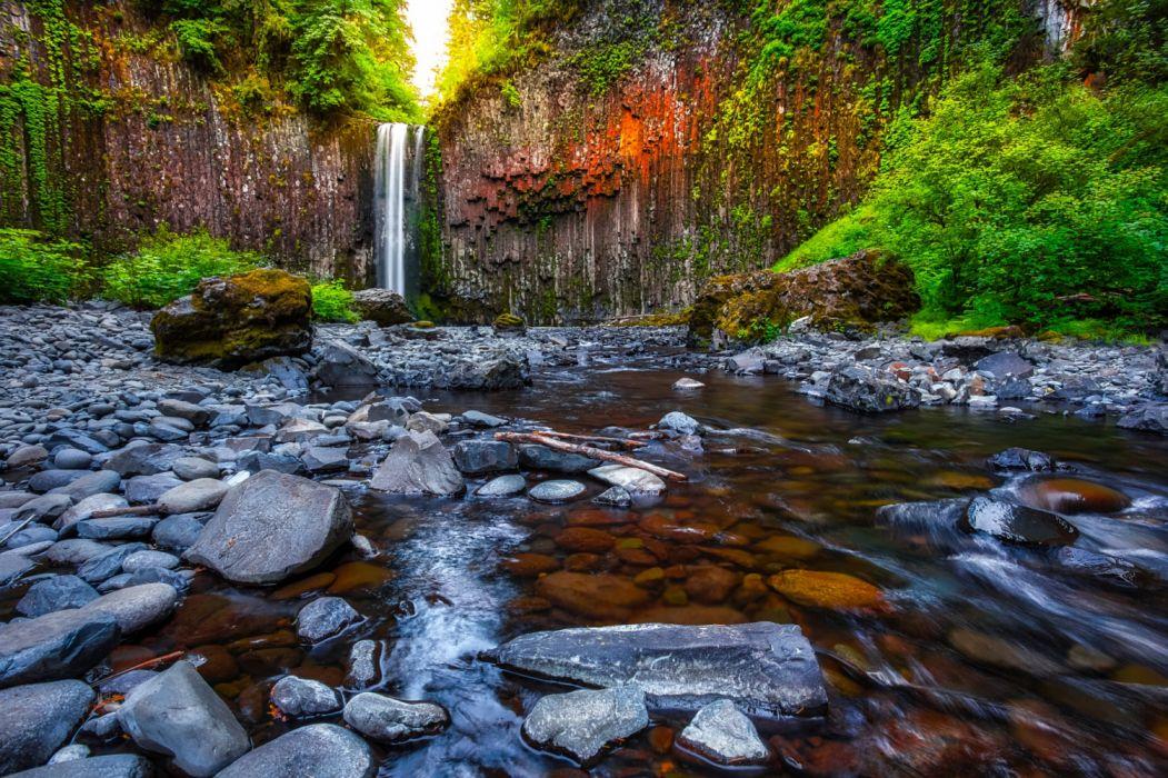 USA Waterfalls Stones Abiqua Falls Oregon Crag wallpaper