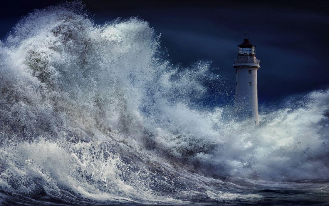 Storm sea water splashli ghthouse nature wallpaper
